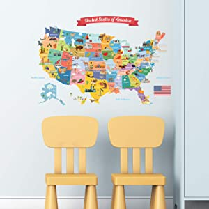 DECOWALL DL-1906 USA Map Kids Wall Stickers Wall Decals Peel and Stick Removable Wall Stickers for Kids Nursery Bedroom Living Room décor