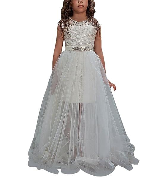 Amazon.com: Hengyud 2018 Little Girls Pageant Dress with Detachable Train Flower Girl Dresses Tutu Toddler Communion Dresses 113: Clothing