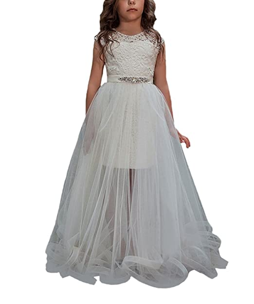 VIPbridal Vestidos largos de dos piezas de encaje para niñas Vestido de primera comunión (12