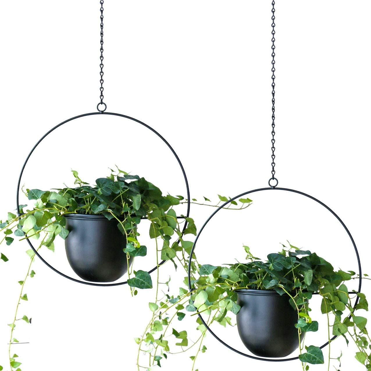 ABETREE 2 PCS Metal Hanging Planters for Indoor and Ourdoor Plants Modern Wall and Ceiling Planter Minimalist Flower Pot Holder for Home Decor,Black