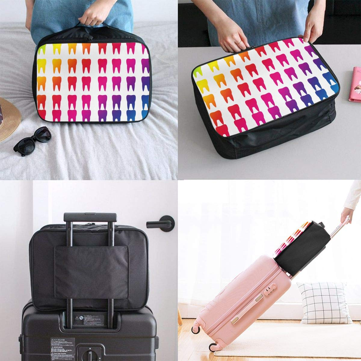Teeth Molars Dental Colourful Travel Duffle Bag Large Lightweight Weekend Bags Luggage Bag Water Repellent Luggage Duffel Bag For Sports Tote Bag In Trolley Handle Holiday