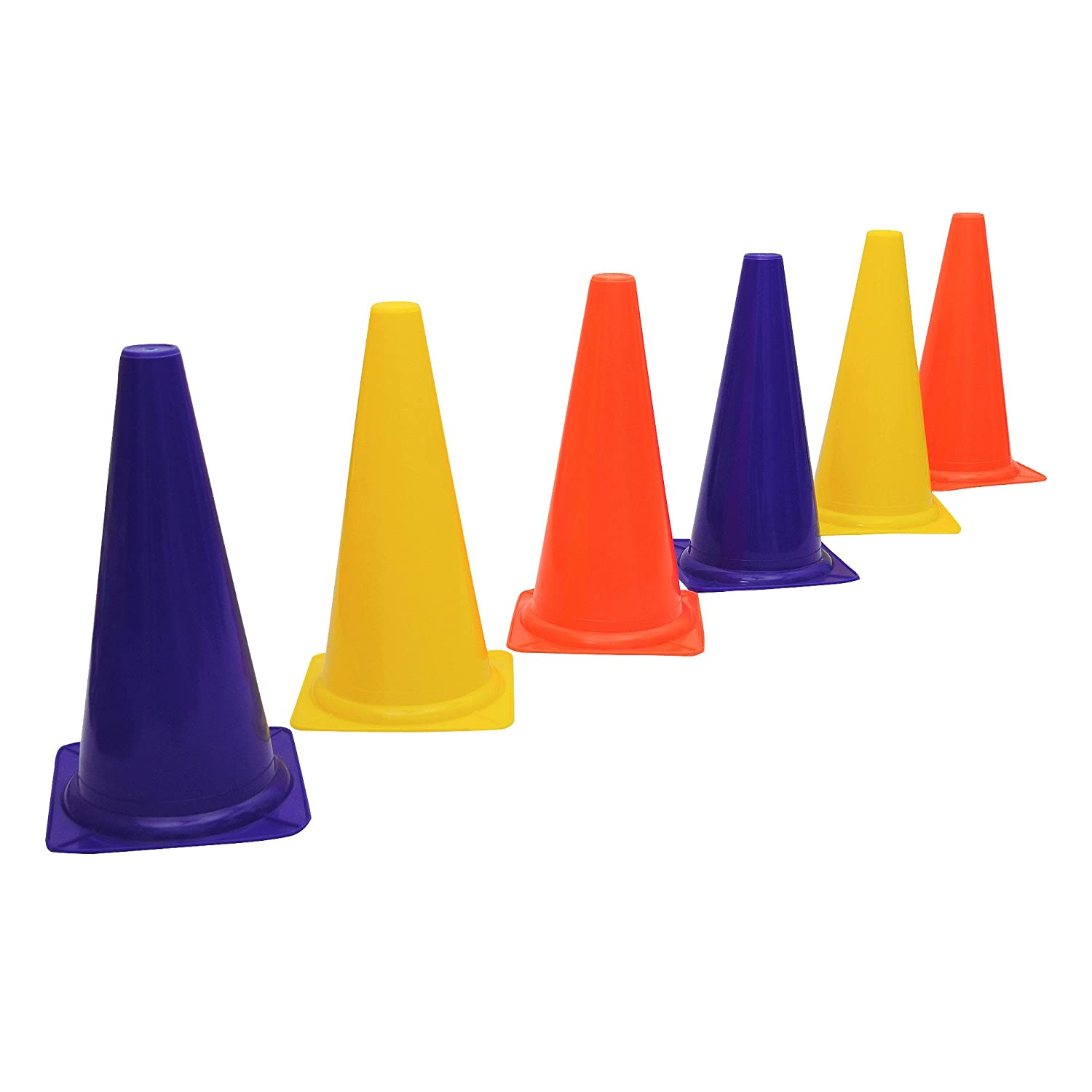 GSI Field Marker Agility Training Cones in LDPE Plastic for Sports Training, Traffic Cone, and Outdoor Agility Training - Pack of 12 (7 inch)