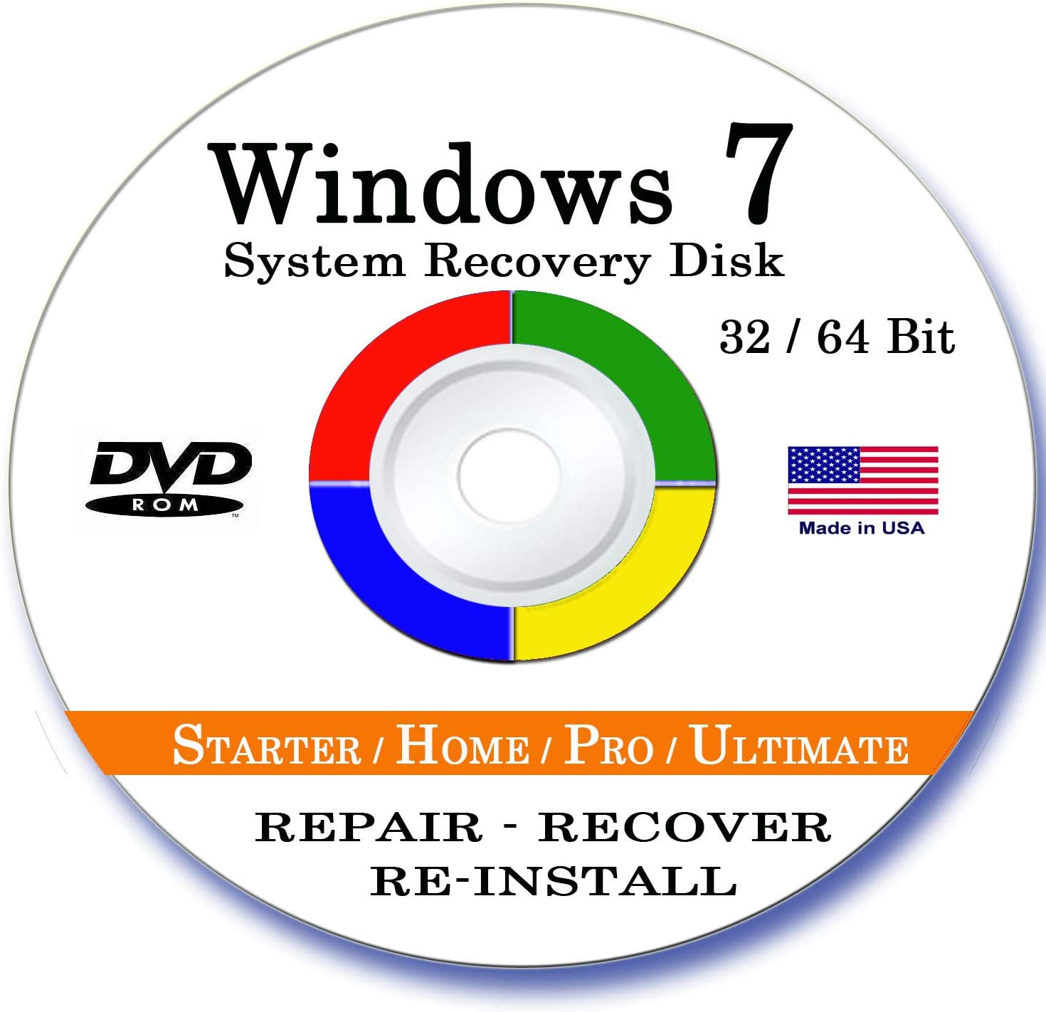 Windows 7 Home Premium 32 / 64 Bit Reinstall Reinstallation Re install Recovery Restore Fix Boot Disk Disc CD - For All Make/Model PCs including HP, Lenovo, Dell, Toshiba, Sony, ASUS