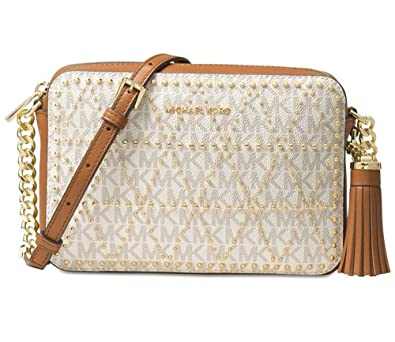 b7f779539ab9 Michael Kors Ginny Medium Studded Camera Bag Vanilla 8.25L x 2.25W x 5.5H:  Handbags: Amazon.com