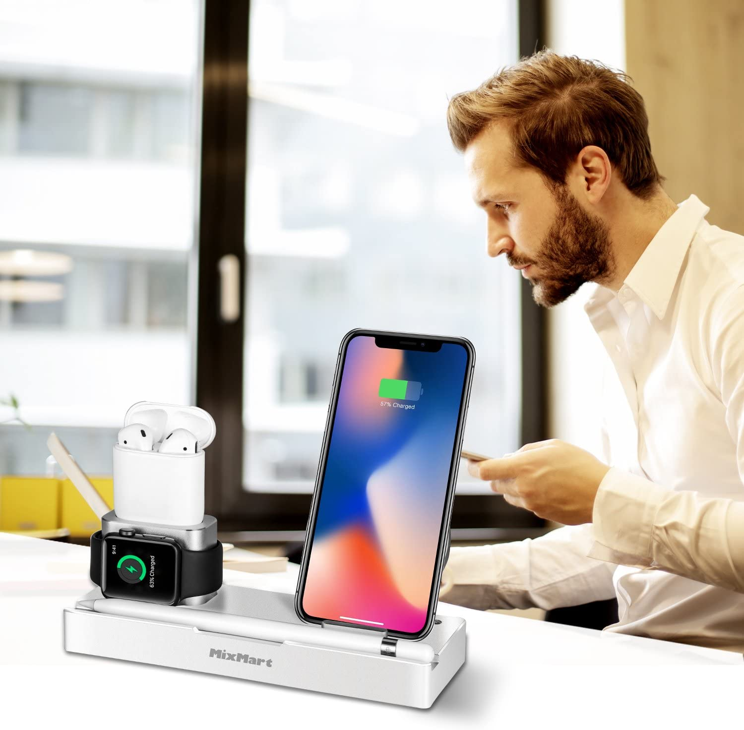 Black Detachable Wireless Charger For Samsung Galaxy S9//S8//S7//S6 Edge Wireless Charger Stand Compatible for iPhone Xs//Xs Max//Xr//X 6 in 1 Aluminum Charging Dock for iWatch//AirPods//iPad//Apple Pencil