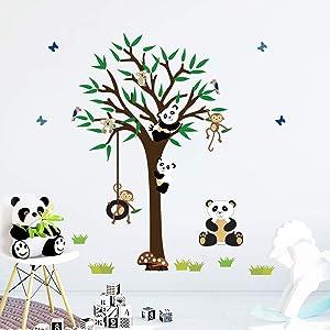decalmile Panda Bear on Tree Wall Decals Monkey Koala Wall Stickers Baby Nursery Kids Bedroom Wall Decor