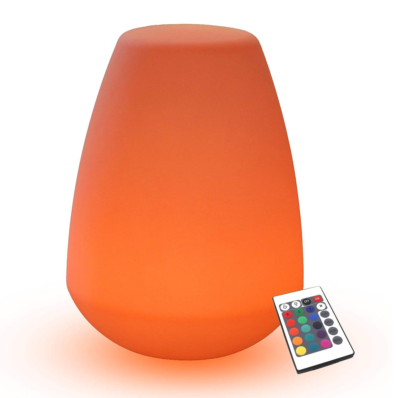 PK Green Erstklassige LED Tischlampe/Stehlampe mit Akku, Farbwechsel, Fernbedienung | Höhe 40cm, Stimmungsleuchte RGB Modern Wasserdicht | Außenlampe Dimmbar für Garten Wohnzimmer Schlafzimmer Kinder