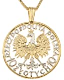 Polish Eagle Pendant & Necklace, Poland 10 Zlotych Hand Cut