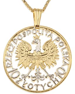 Amazon necklace white eagle cross black polish eagle polish eagle pendant necklace poland 10 zlotych hand cut mozeypictures Images