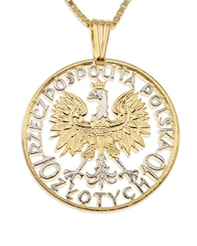 Polish eagle pendant necklace poland 10 zlotych hand cut amazon polish eagle pendant necklace poland 10 zlotych hand cut aloadofball Choice Image