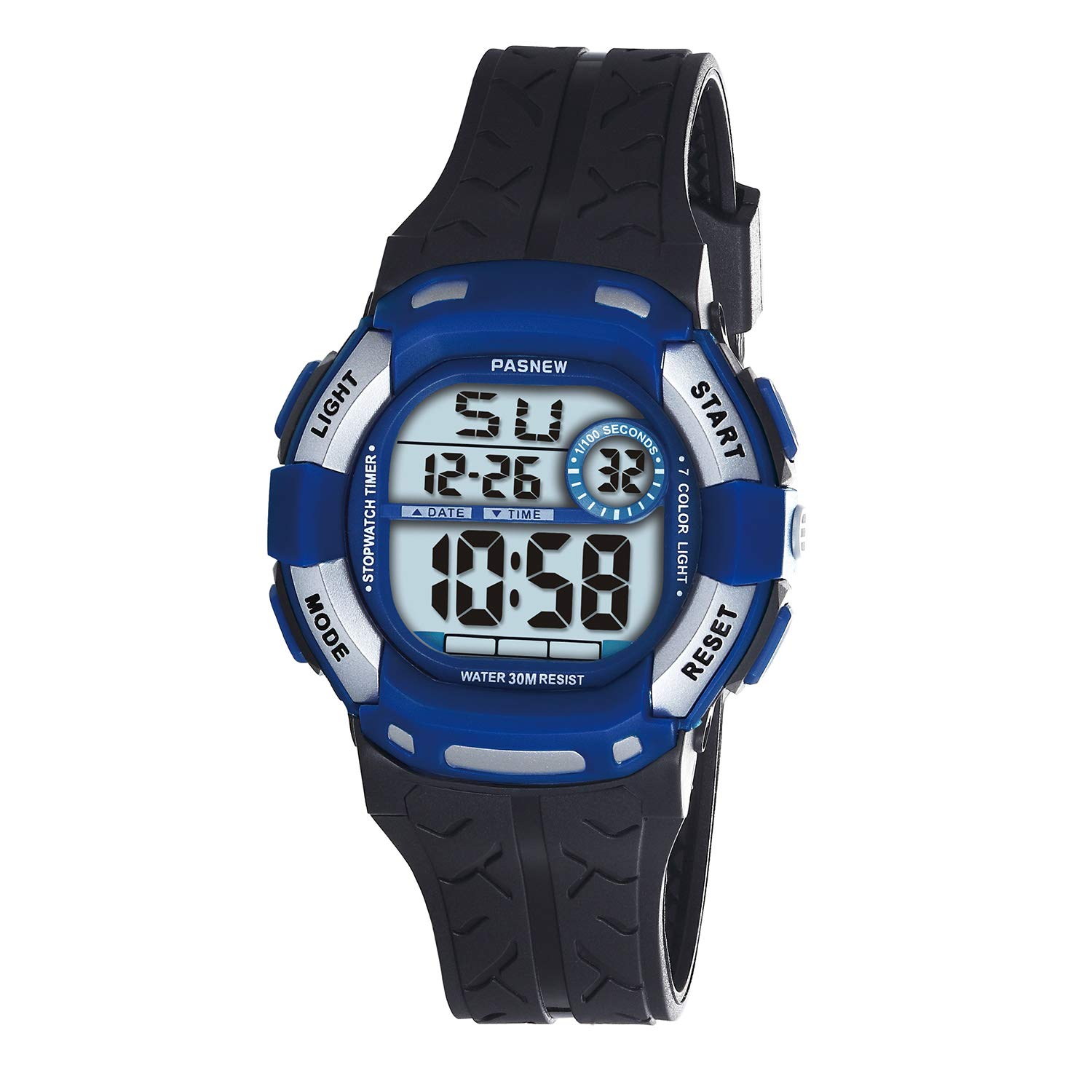 PASNEW Kids Watches Waterproof 100FT Digital Sports Wristwatch with 7-Color Flashing LED Light Alarm Stopwatch Chime Date Day Black Blue