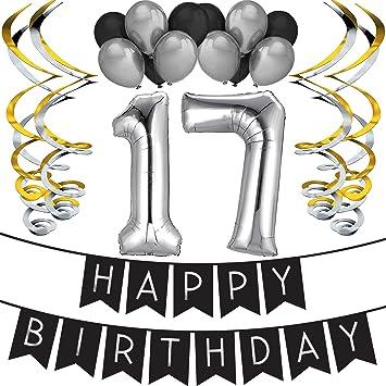 """17th Bday Silver Paquete para Fiesta de Cumpleaños Número 17 """"Happy Birthday""""- Paquete con Banderín de Feliz Cumpleaños Negro y Plateado, Globos y ..."""