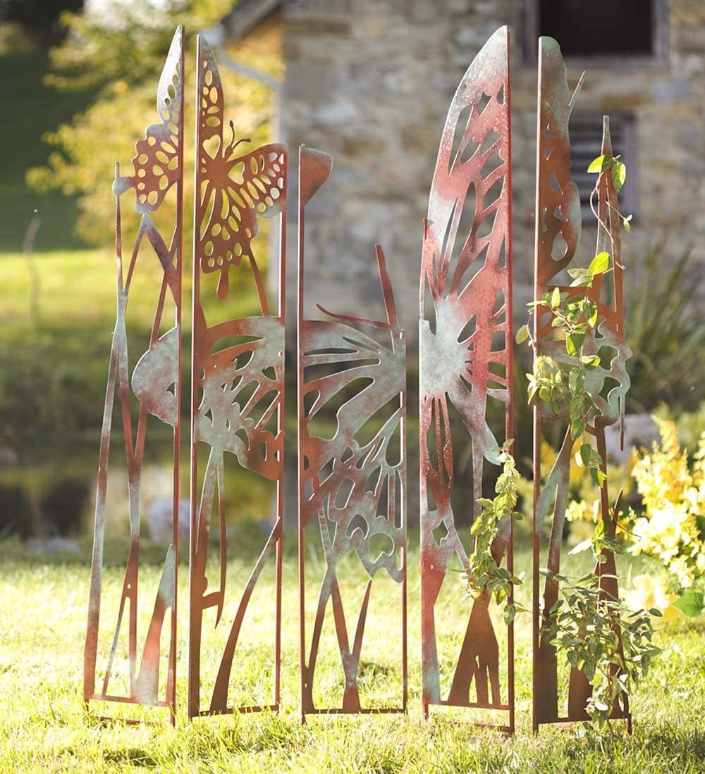 Wind & Weather Outdoor Butterfly Laser Cut Metal Garden Panel Stakes Silhouette Decorative Privacy Screen Antiqued Natural Rust Patina Finish Set of 5 Individual Panels 42 W x 59.5 H x .75 D