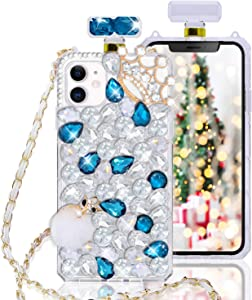 Fusicase for iPhone 11 Diamond Rhinestone Case with Neck Strap Cute Bling Glitter Crystal Shiny Clear Cover 3D Handmade Crown Perfume Bottle with Wrist Strap Chain Lanyard Case for Girls Women Blue