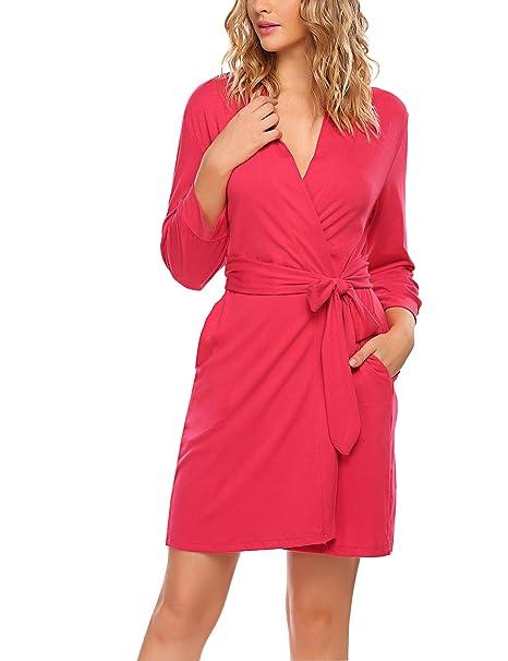 HOTOUCH Mujer Pijamas Bata Albornoz Kimono Sauna Abrigo con Inferior V de Recorte Traje de Dormir de algodón: Amazon.es: Ropa y accesorios