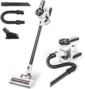 MOOSOO Cordless Vacuum Cleaner, Ultra-Powerful 26Kpa Suction Stick Vacuum with 3Hrs Fast Charging Quiet Lightweight 5 in 1 Handheld Vacuum for Carpet Hardwood Floor Rug Pet Hair M24