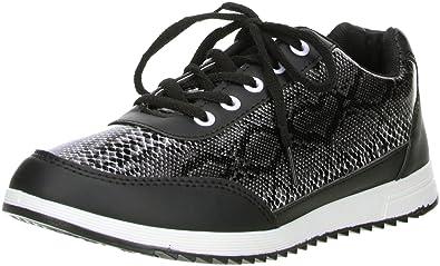 6574ec2fc6c3 Unbekannt FLA Damen Sneaker Halbschuhe Schlangenoptik Schwarz, Größe 36,  Farbe Schwarz