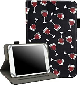 "7"" - 8"" Inch Tablet Case - Universal Folio Cover Protective Stand for Touchscreen Tablets Including Ipad Min and Many More (Wine Glasses)"