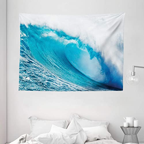 Ambesonne Ocean Tapestry, Surfing Water Tube Appeares After Forceful Giant Wave Curls Itself on Sea, Wide Wall Hanging for Bedroom Living Room Dorm, 80 X 60 , White Blue