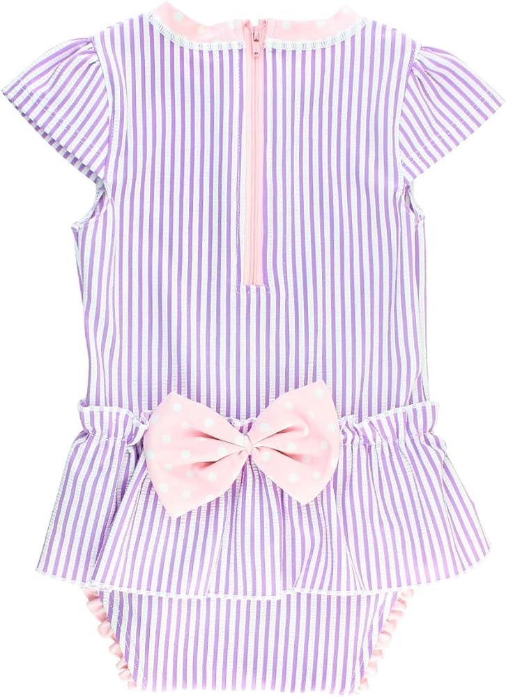 c7d4d722ae7b5 RuffleButts Little Girls Peplum Skirt One Piece Rash Guard Swimsuit - Lilac  Seersucker - 2T