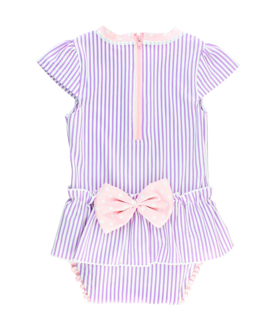 RuffleButts Little Girls Peplum Skirt One Piece Rash Guard Swimsuit - Lilac Seersucker - 2T