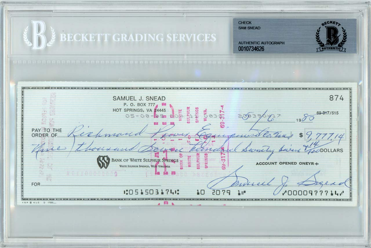 Sam Snead Autographed Signed 3x8 Check Autographed Signed In Blue Memorabilia Beckett Authentic