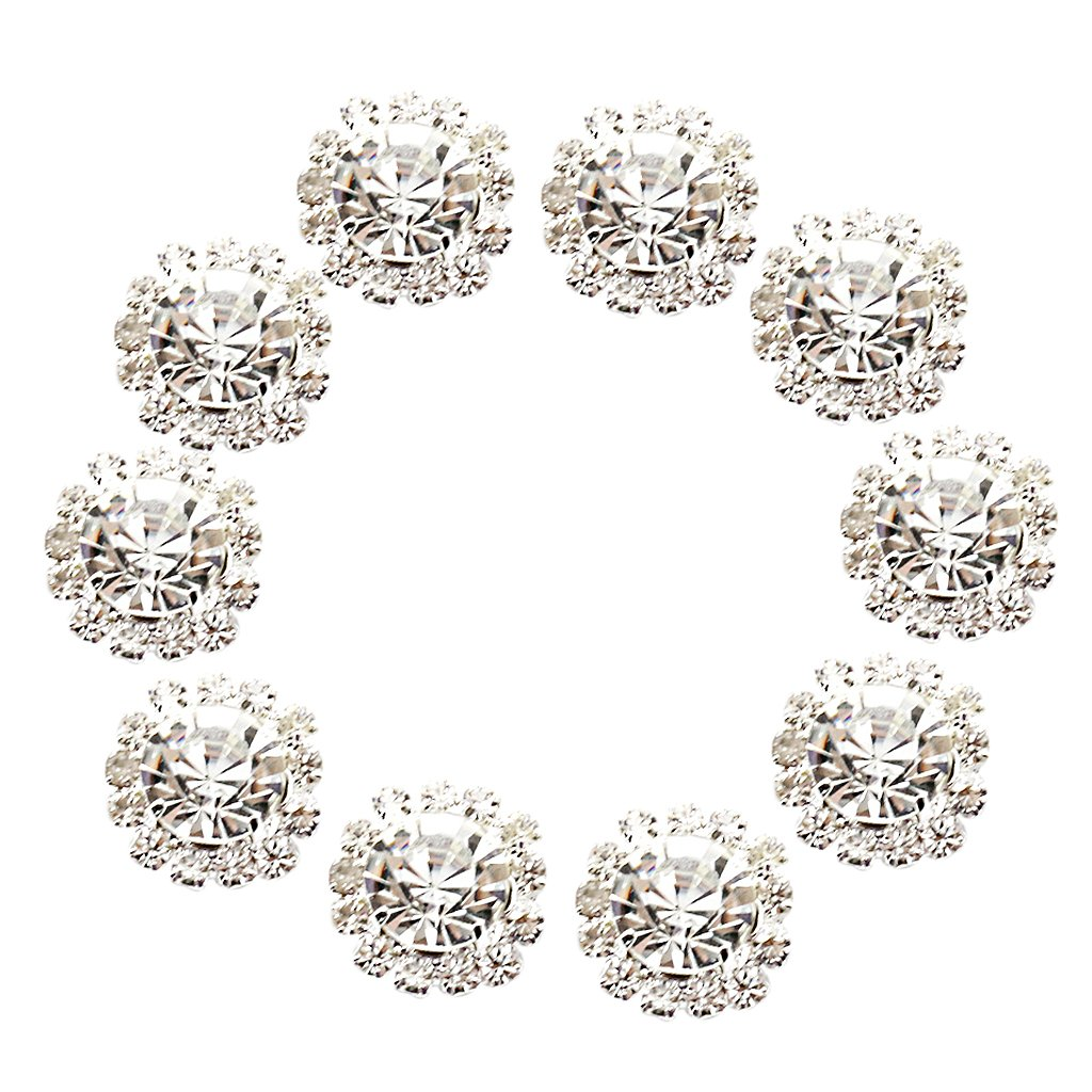 Phenovo Crystal Rhinestone Button Flatback Decoration DIY Sewing Buttons 15mm 10pcs Clear AEQW-WER-AW147963