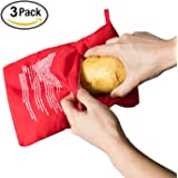 Fecihor 3 Pack of Reusable Microwave Potato Cooker Bag, Potato Pouch Cooker, Perfect Potatoes Just in 4 Minutes, Red