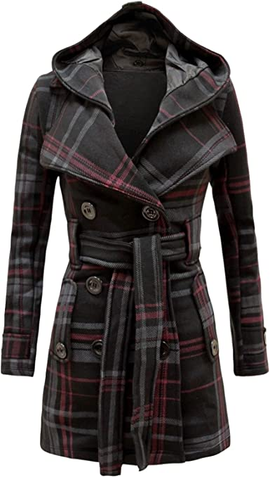 Womens Long Sleeve Check Hood Tartan Belted Button Fleece Coat