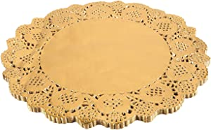 Juvale Paper Doily – 60-Pack Round Doilies Paper Lace Placemats for Cakes, Desserts, Baked Treat Display, Ideal for Weddings, Formal Event Decoration, Tableware Decor, Gold - 12 Inches in Diameter