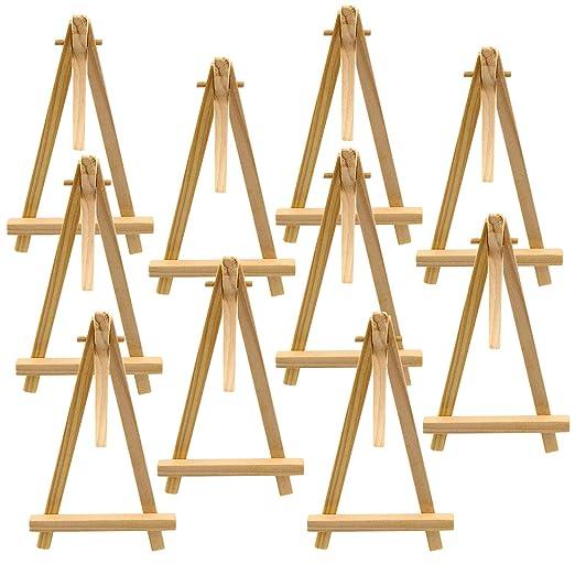 Waycreat 10 piezas Mini caballete de madera triángulo mesa de boda ...