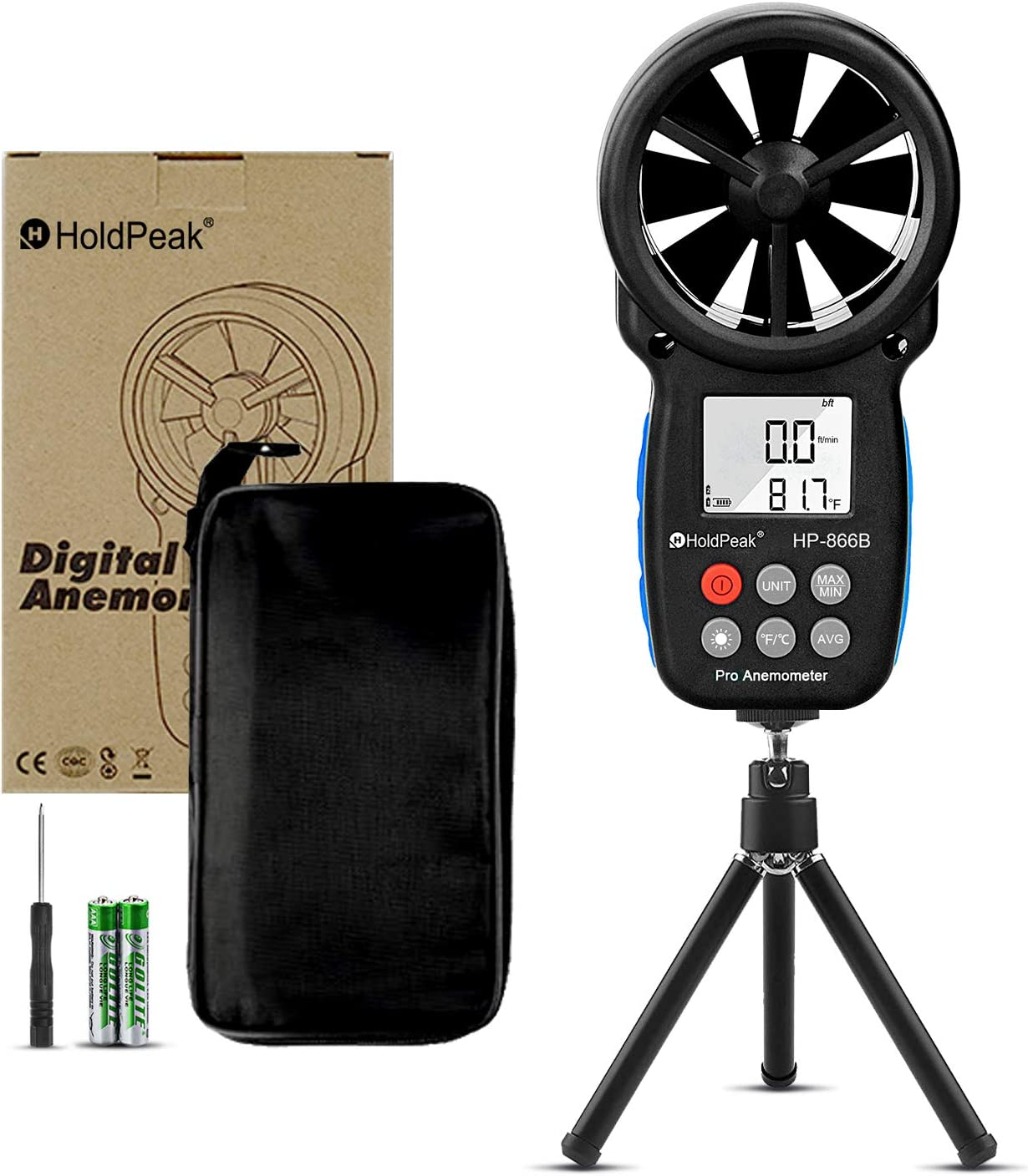 HOLDPEAK HP-866B Digital Anemometer Handheld Wind Speed Meter Gauges with Data Hold,Backlight,Wind Chill Indication for Flying,Hiking & Shooting