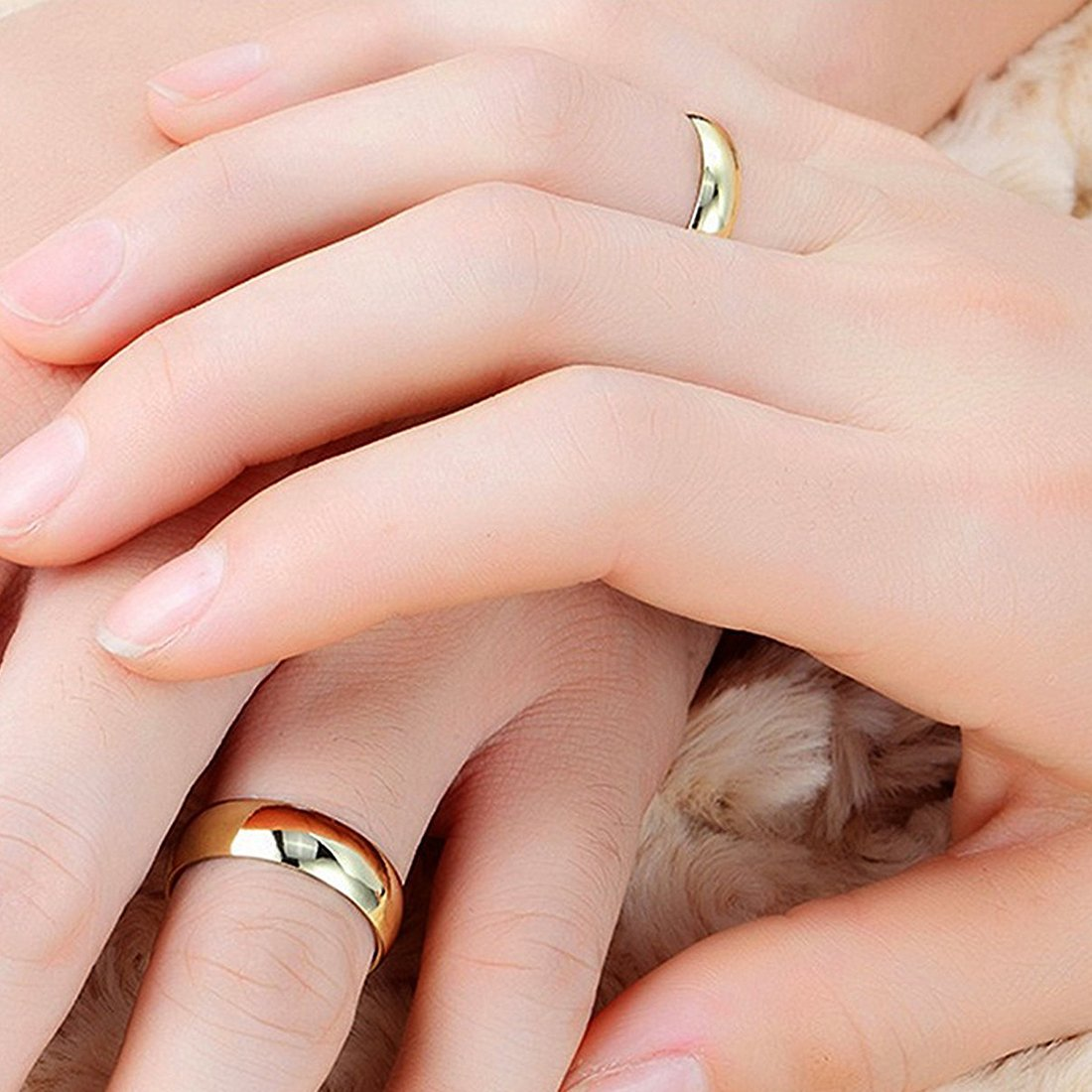 Buy Peora 18k Gold Couple Engagement and Wedding Plain Band Ring for ...
