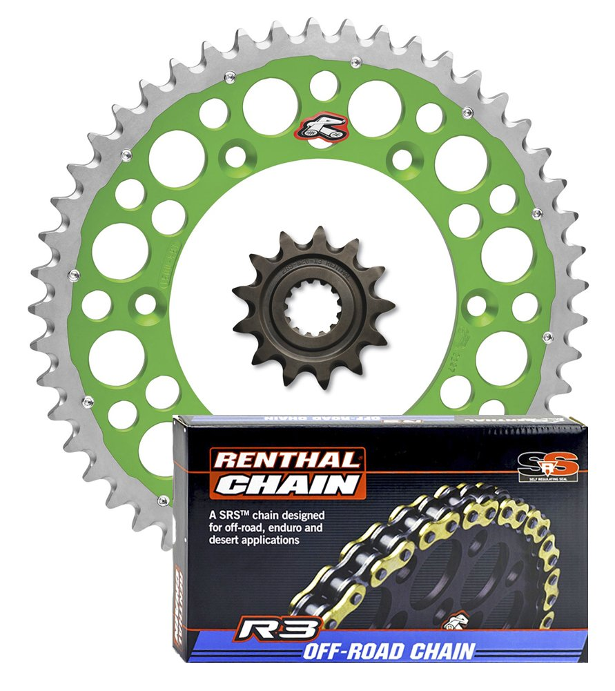 Renthal Grooved Front /& Twinring Rear Sprocket /& R3 O-Ring Chain Kit compatible with Kawasaki KLX450R /& KX450F 13//51 GREEN