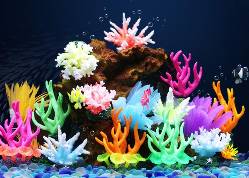 OHlive - Adorno de Coral Luminoso para Acuario con Arrecife Brillante para decoración de paisajes de peceras: Amazon.es: Productos para mascotas
