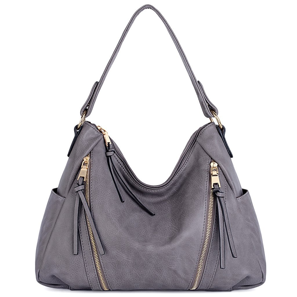 UTO Women Handbag PU Leather Purse Double Zipper Hobo Style 3 Ways Shoulder Bag A Grey