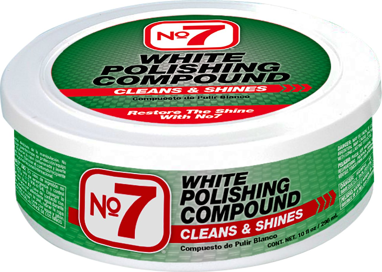 No.7 White Polishing Compound - 10 Fl Oz - Cleans and Shines - Removes Heavy Traffic Film, Stains, Light Scratches and Weathered Paint