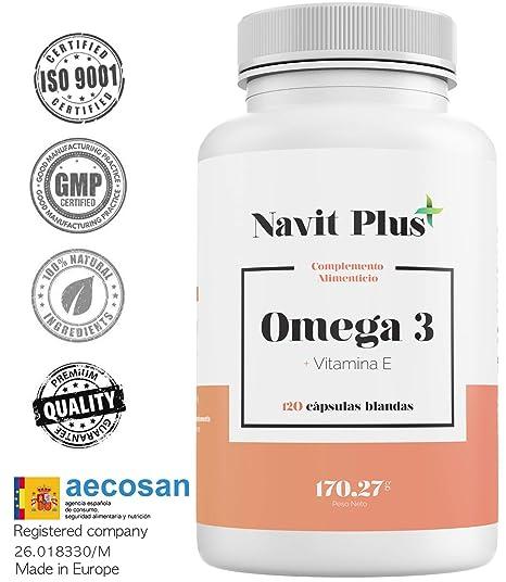Omega 3 Ácidos grasos + Vitamina E. Alta dosis de EPA 700 mg y DHA 500 mg/ Dosis diaria | Fabricado en España |Complemento alimenticio a base de ...