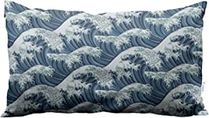 Yeuss Throw Pillow Japan The Great Wave Off Kanagawa Waves Decorative Pillow Case Home Decor Rectangle 12 X 20 Inch Pillowcase