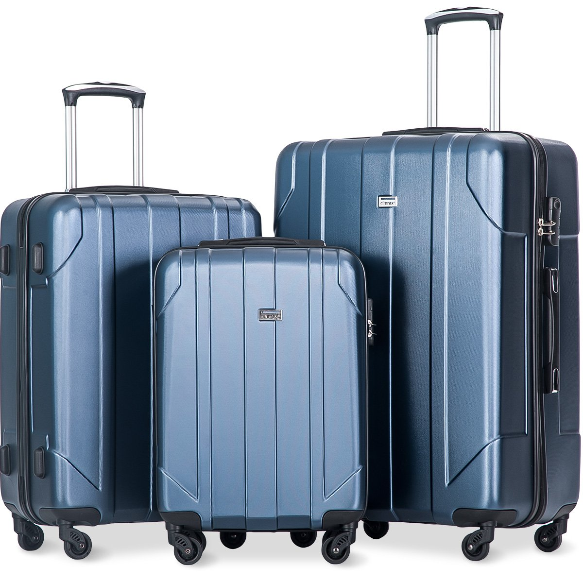 936d23aef30b Merax 3 Piece PET Luggage Set Eco-friendly Light Weight Spinner  Suitcase(Blue)