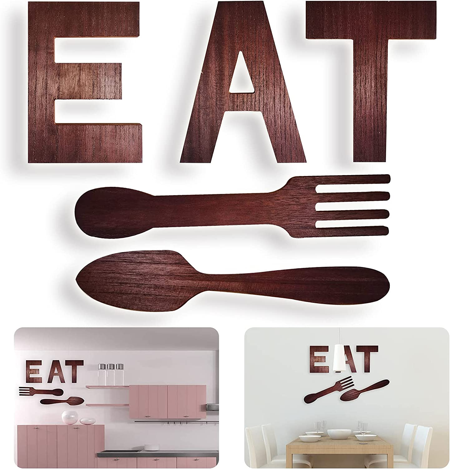 EAT Sign Fork Spoon Kitchen Wall Hanging Decor Rustic Wood EAT Letters Decoration for Kitchen Dining Room Home Country Farmhouse Wall Wooden Art Decoration (Vintage wood brown)