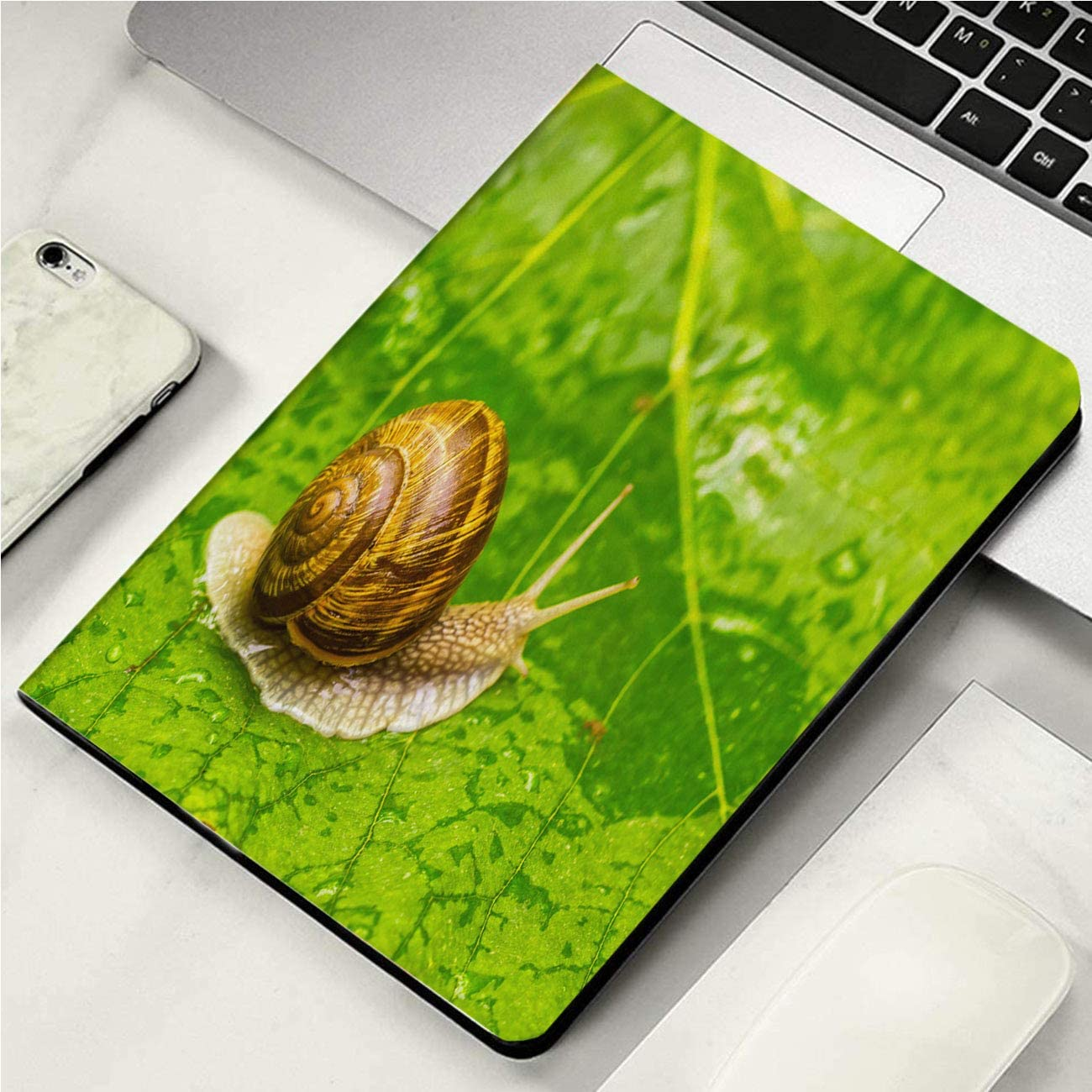 "Case for New ipad 2019 Case,Snail On Green Leaf,Microfiber Lining Auto Sleep/Wake Up Smart Cover for IPad 10.2"" Case"