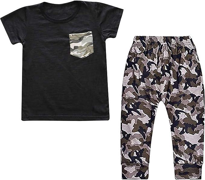 Ropa Bebe Niño Disfraz Primavera Conjunto de Verano Traje Deportiva Camisa Negra Corta y Pantalon Camuflaje 18-24 Meses: Amazon.es: Ropa y accesorios