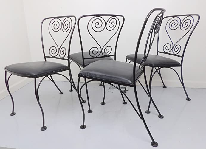 6fdca60cd4c6 Image Unavailable. Image not available for. Color  Wire Dining Chairs  Wrought Iron Metal Set of 4 Patio