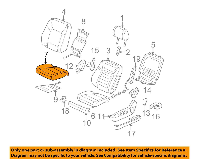 Left Honda Genuine 81531-SZA-A01ZD Seat Cushion Trim Cover Front