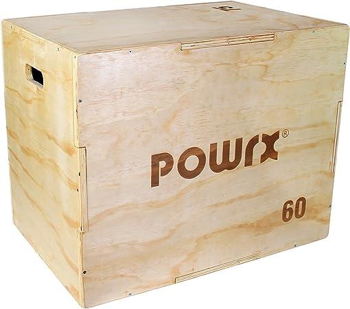 POWRX - Caja pliométrica Ideal para Aumentar la Fuerza y Masa Muscular - Base y Superficie ANTIDERRAPANTES - Material 100% Madera ((Large / 75 x 50 x 60 cm)): Amazon.es: Deportes y aire libre