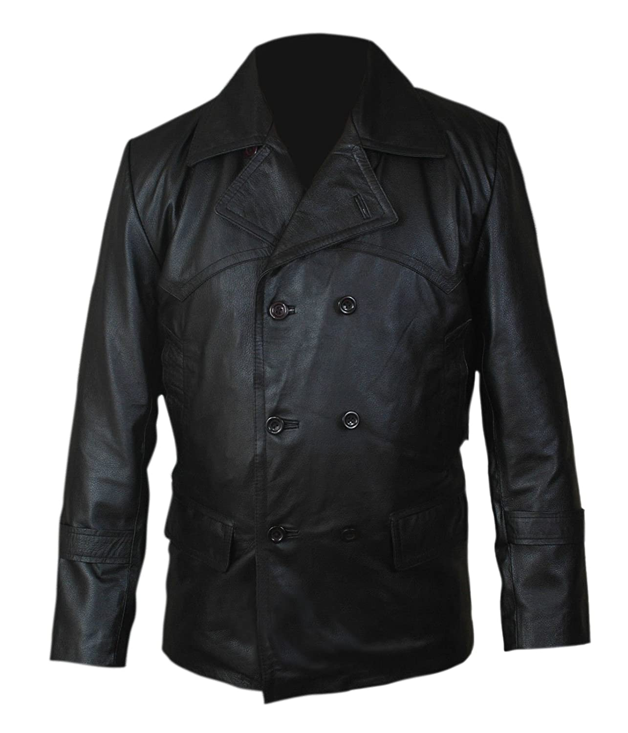 Mens Leather Rrench Jacket - Dr. Who Black Leather Jacket U Boat Inspired by Christopher Eccleston