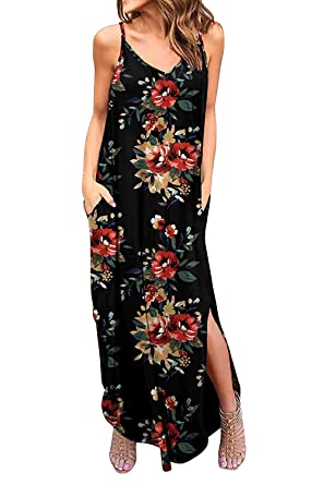 8509c8128c Women's Sleeveless Maxi Dresses Harness Solid Floral Long Dress Summer  Evening Party Dresses Beach Dresses (
