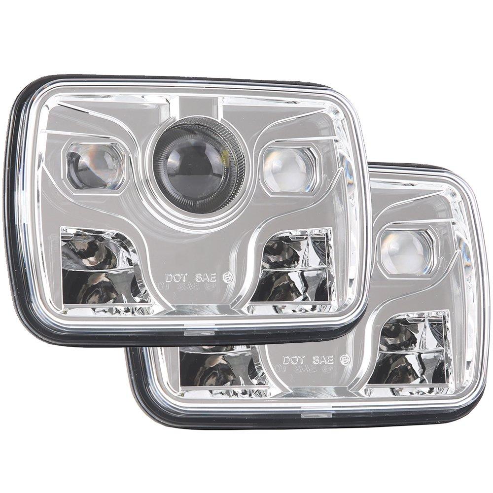 5x7 Projector 7x6 LED Headlight DOT Bulb Kit Sealed Beam 6000K Replacement Headlamp Light Lamp for Jeep Cherokee XJ Wrangler YJ Comanche MJ H6054 H5054 H6054LL 69822 6052 6053 Black 2 PCS Ubuymore