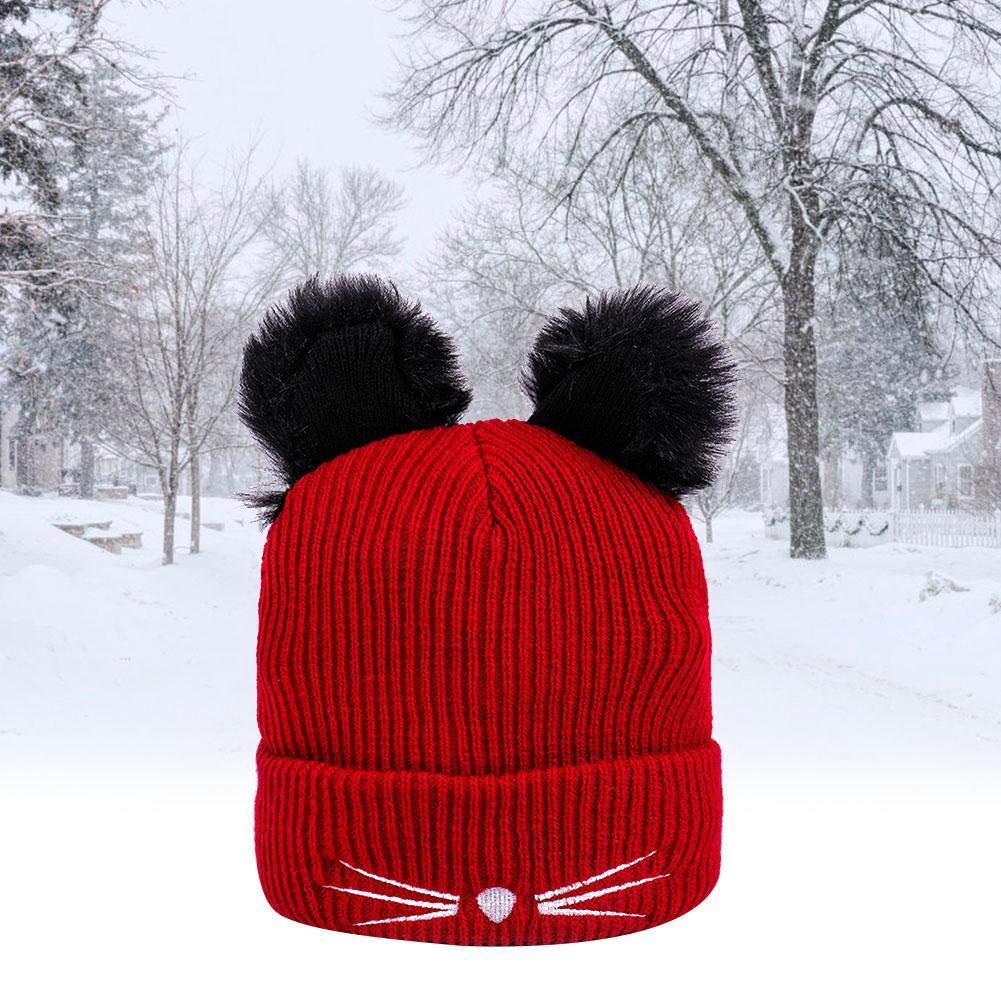 Unisex Men /& Women Gorro de Punto Bordado Orejas de Gato Invierno C/álido Unisex Hat